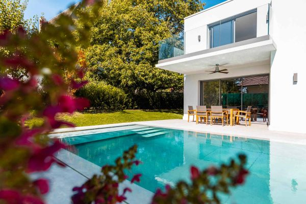 fleurs au premier plan avec piscine te maison en arrière plan